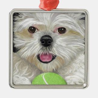 Gulliga svartvita Shih Tzu med en tennisboll Julgransprydnad Metall