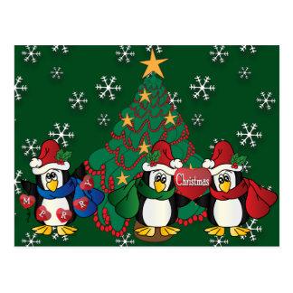 Gulliga tecknadpingvin för god jul vykort