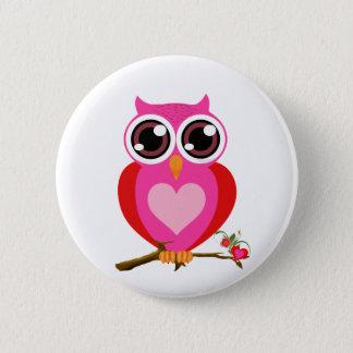 Gulliga ugglor för kärlek & hjärtagåvor standard knapp rund 5.7 cm