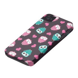 Gulliga ugglor & hjärtablackberry boldfodral iPhone 4 Case-Mate fodraler