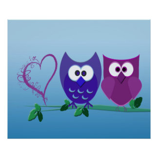 Gulliga ugglor och Swirly hjärtaaffisch Poster