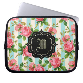 gulliga vintagero, rosa ros, monogram datorskydds fodral