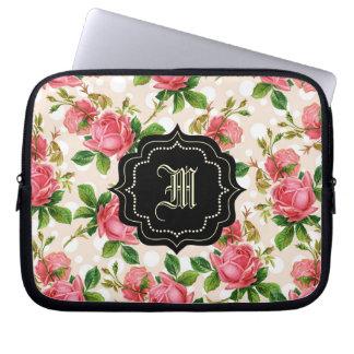 gulliga vintagero, rosa ros, monogram datorskydd