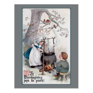 Gulliga vintagethanksgivingbarn vykort