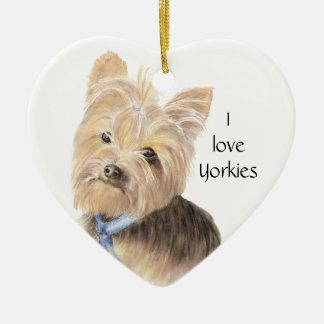 Gulliga Yorkie, Yorkshire Terrier, hund, husdjur Julgransprydnad Keramik