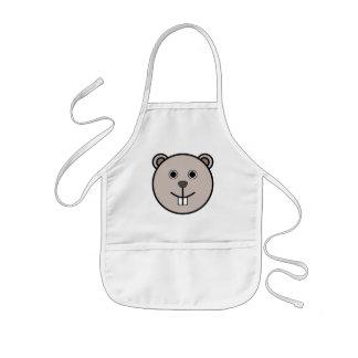 Gulligt ansikte för rundatecknadbjörn barnförkläde