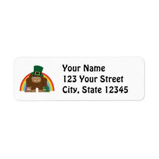 Gulligt Bigfoot troll Returadress Etikett