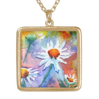 Gulligt blom- halsband för daisyakvarellhänge