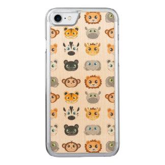Gulligt djungeldjurmönster carved iPhone 7 skal
