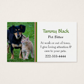 Gulligt djuromsorgt hund- & kattfoto visitkort