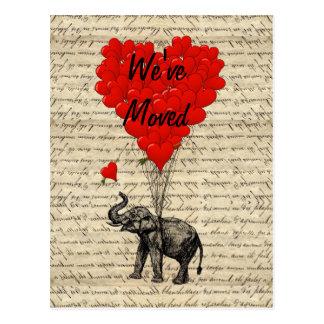 Gulligt elefantadressändringkort vykort