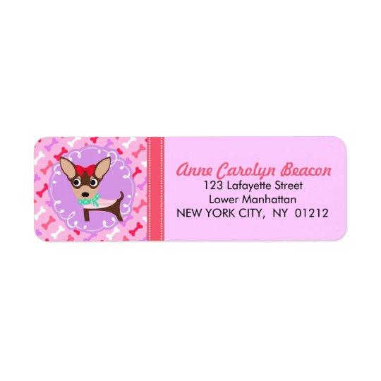 Gulligt flickaktigt Chihuahuarosa- & lilamönster Returadress Etikett