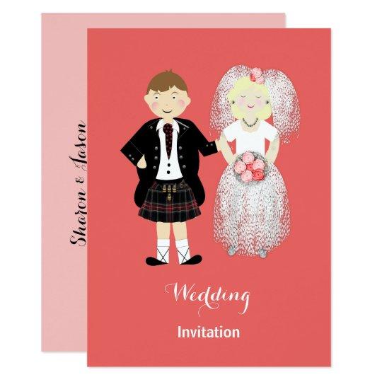 Gulligt för brud och skotskt brölloptema för 11,4 x 15,9 cm inbjudningskort