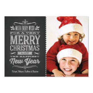 Gulligt för svart tavlafoto för jul kort för mall 11,4 x 15,9 cm inbjudningskort