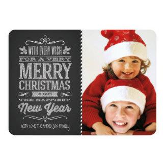 Gulligt för svart tavlafoto för jul kort för mall 12,7 x 17,8 cm inbjudningskort