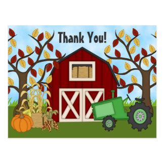 Gulligt grönt tack för traktor- och vykort