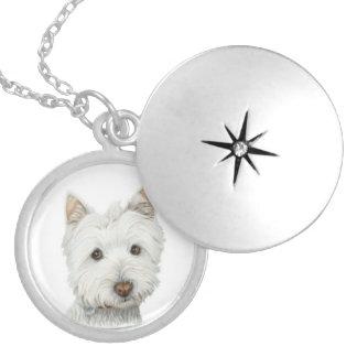 Gulligt halsband för Westie hundsilver