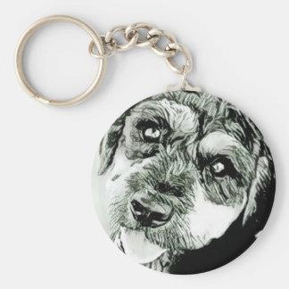 Gulligt hundansikte Keychain Rund Nyckelring