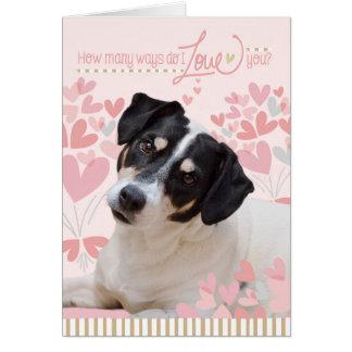 Gulligt hundvalentineskort - hur många vägen gör hälsningskort
