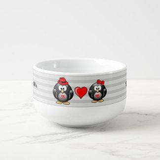 Gulligt I grundar min pingvinkompis för röd hjärta Soppmugg