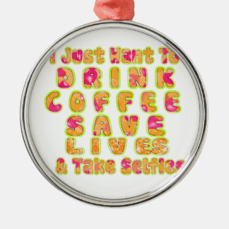 Gulligt I önskar precis att dricka kaffesparaliv Rund Silverfärgad Julgransprydnad