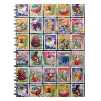 Gulligt Japan år av det djura frimärkemönster Anteckningsbok