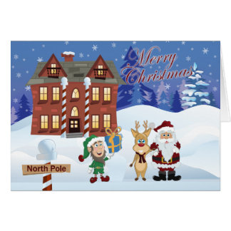 gulligt jultecknadkort hälsningskort
