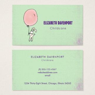 Gulligt kanininnehav en ballong visitkort