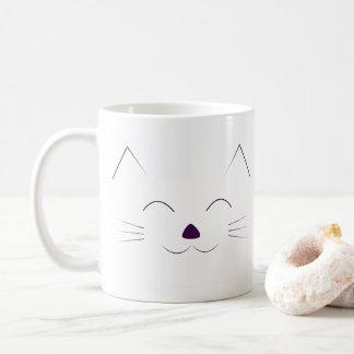 Gulligt kattansikte - lila kaffemugg