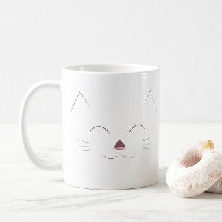 Gulligt kattansikte - rosa kaffemugg