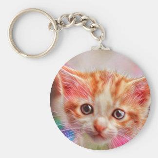 Gulligt kattungeansikte Keychain Rund Nyckelring