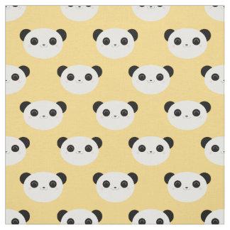 Gulligt Kawaii Pandaansikte på gult mönster Tyg