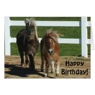 Gulligt kort för miniatyrhästfödelsedag