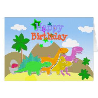 Gulligt kort för tecknadDinosaursgrattis på födels