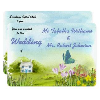 Gulligt landlandskap målar bröllopinbjudan 12,7 x 17,8 cm inbjudningskort