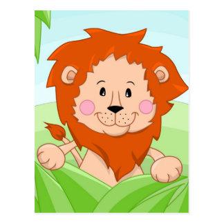Gulligt lejont i gräs vykort