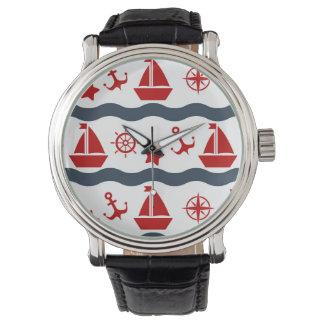 Gulligt maritimt mönster armbandsur