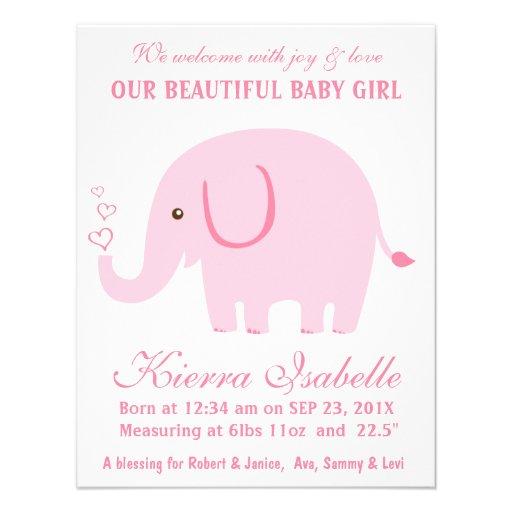 Gulligt meddelande för födelse för elefantnyfödd b tillkännagivande