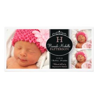 Gulligt meddelande för födelse för Monogram för fl Fotokort