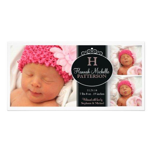 Gulligt meddelande för födelse för Monogram för fl Hälsningskort Med Foto