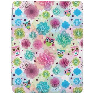 Gulligt mönster för blommaugglabakgrund iPad skydd
