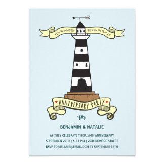Gulligt nautiskt årsdagparty för fyr | 12,7 x 17,8 cm inbjudningskort