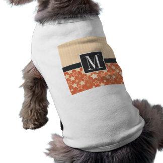 Gulligt orange Retro stjärnor för vintage Hund Tee Shirt