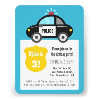 Gulligt party för polisbilbarns födelsedag unika inbjudningar