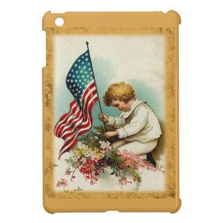 Gulligt patriotiskt vintagebarn & flagga iPad mini skydd