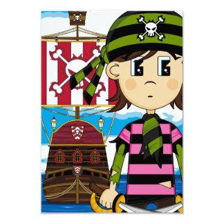 Gulligt pirat- och frakthälsningkort 8,9 x 12,7 cm inbjudningskort