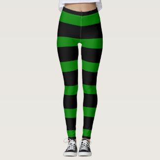 Gulligt randigt mönster i svart och Kelly grönt Leggings