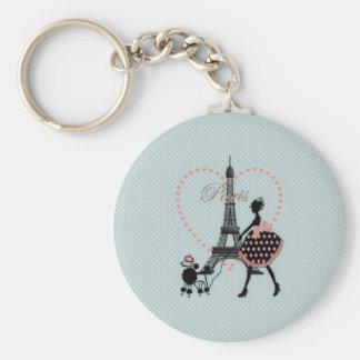 Gulligt romantiskt gå för vintageflickasilhouette rund nyckelring
