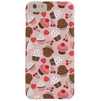 Gulligt rosa muffins-, hjärta- och körsbärmönster barely there iPhone 6 plus fodral