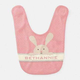 Gulligt rosa PolkaDot kaninansikte•,Anpassningsbar Hakklapp